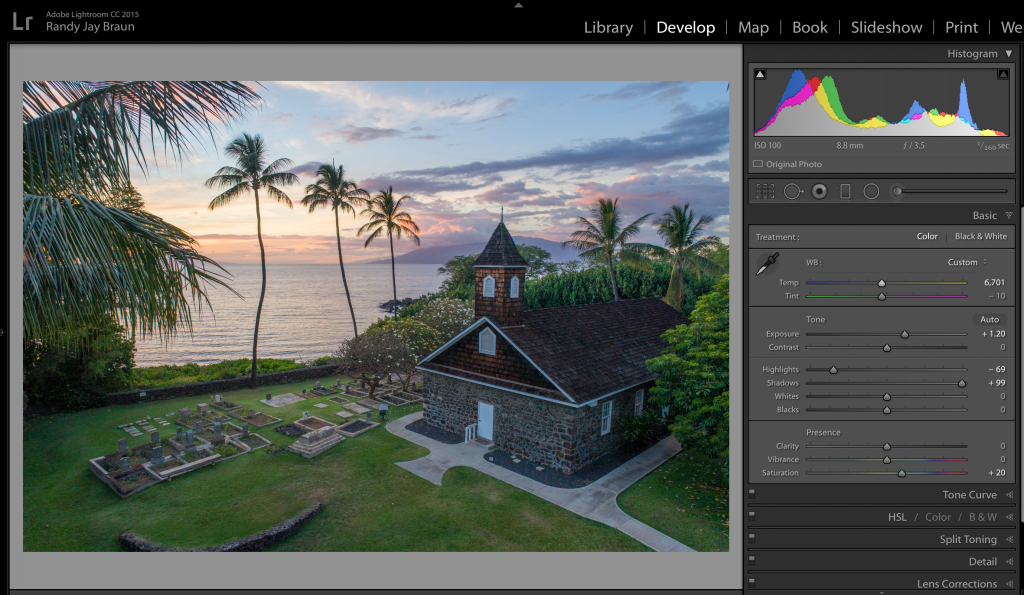 Adobe Lightroom sliders are a quick fix.