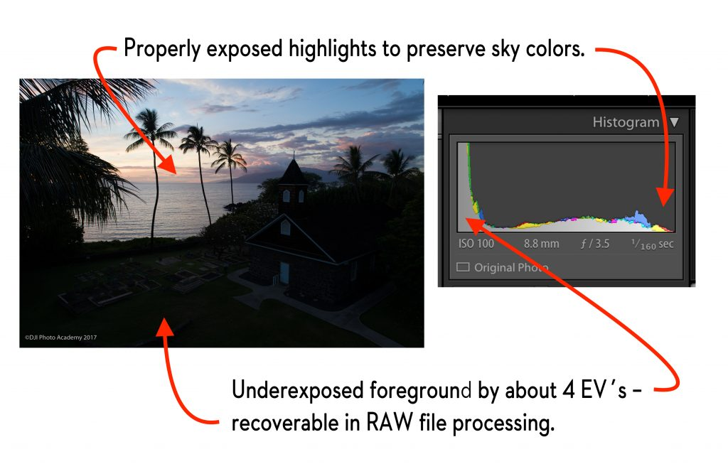 Image and Histogram side-by-side. This is how the image relates to the histogram with regards to highlights and shadows.