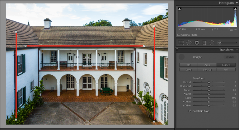 Adobe Lightroom fixing converging lines.